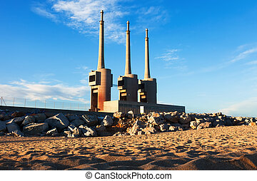 chimneys of neglected power thermal station