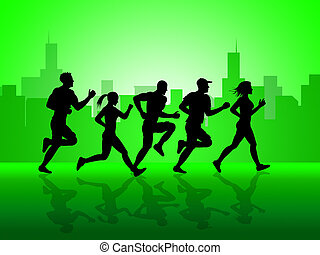 City Jogging Shows Get Fit And Sprint - Jogging Exercise...