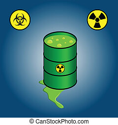 Barrel leaking toxic waste icons of biohazard and...