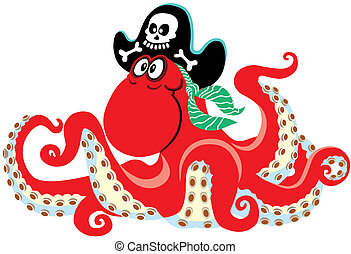 cartoon octopus pirate, isolated image for little kids