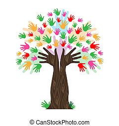 Handprints Tree Means Hands Together And Artwork - Hands...