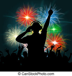 Fireworks Dj Represents Explosion Background And Celebrate -...