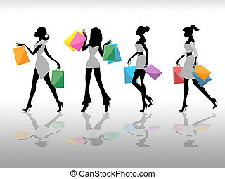 Women Shopping Indicates Retail Sales And Adult - Women...