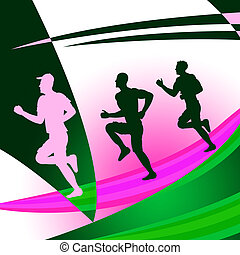 Jogging Exercise Shows Get Fit And Race