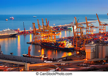 Port de Barcelona in night - commercialindustrial port...