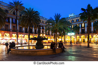 Placa Reial in winter evening Barcelona, Catalonia