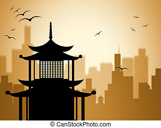 Silhouette Pagoda Shows Worship Asian And Buddhism