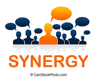 Synergy Teamwork Shows Working Together And Collaborate -...