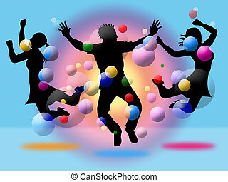 Excitement Jumping Indicates Disco Dancing And Activity -...