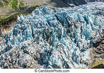 View on Argentiere glacier. Hiking to Argentiere glacier with th