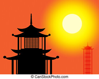 Silhouette Pagoda Means Profile Worship And Asia