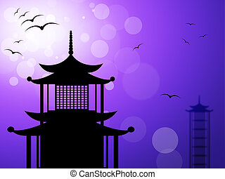 Pagoda Silhouette Represents Religious Temple And Worship