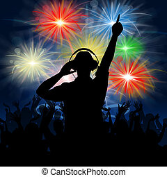 Disco Dj Represents Fireworks Display And Celebrating - Dj...
