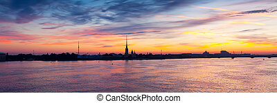 Neva river in dawn. Saint Petersburg - Panoramic view of...
