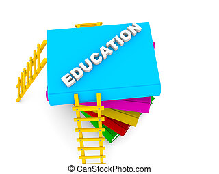 education concept, text on colorful books