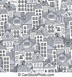 Seamless pattern town houses. Vector illustration - Seamless...