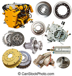 motor and few automotive parts Isolated over white