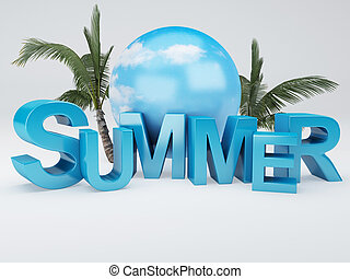 word summer 3D Illustration - image of of summer and palm...