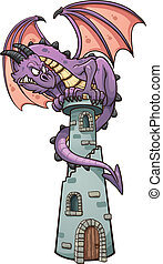 Dragon on tower - Dragon perched on tower Vector clip art...