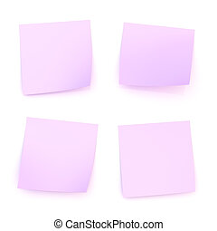 Four bent sticker paper notes - Four bent violet sticker...