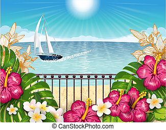 Tropical landscape with boat horz - Tropical landscape...