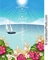 Tropical landscape with boat - Tropical landscape vegetation...