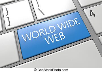 World Wide Web - keyboard 3d render illustration with word...