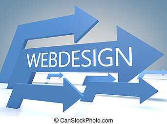 Webdesign 3d render concept with blue arrows on a bluegrey...