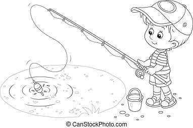 Fisherman - Little Boy fishing on a small pond