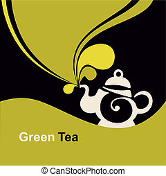green tea. - Teapot with green tea. Place for your text