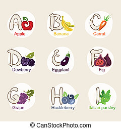fruit alphabet - A vector illustration of fruit and...