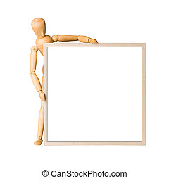 Wooden model dummy holding square cardboard frame with...