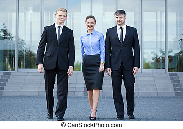 People after business meeting - Horizontal view of people...