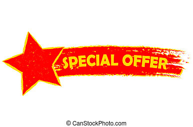 special offer with star, yellow and red drawn banner -...