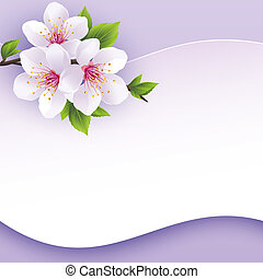 Greeting or invitation card with branch of sakura. Beautiful...