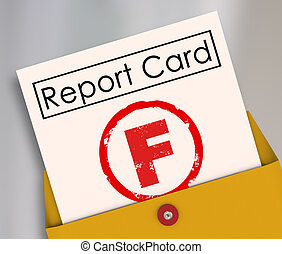 F Failing Grade Score Report Card Poor Performance Failure -...