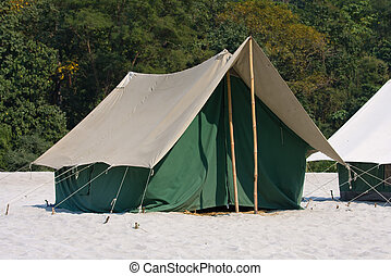Camp on the Ganges River India - Camp on the banks of the...