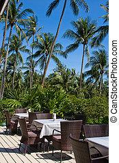 Beach restaurant on the island Koh Kood, Thailand - Table...