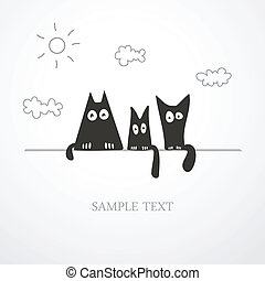 cute cats - Three stylized black cute kittens