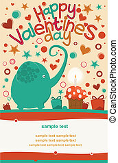 Happy Valentines Day Greeting Elephant - Postcard Valentines...