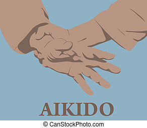 Illustration, capture of hands in Aikido.