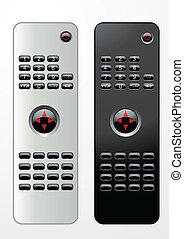 Remote controls - Black and white editable vector remote...