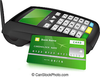 Payments concept - Modern wireless POS terminal and bank...