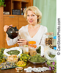 Senior  woman drinking herbal tea