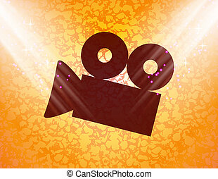 Cinema camera icon flat design with abstract background