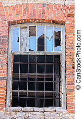 Window lattice to brick wall - Window lattice in old brick...