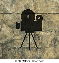 Videocamera icon Flat with abstract background.