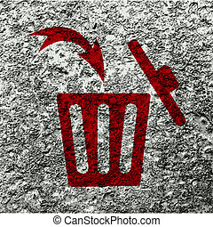 Trash bin icon Flat with abstract background