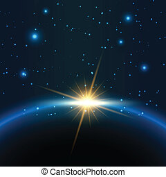 Space background with sun rising behind a planet
