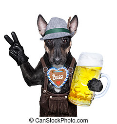 bavarian dog - bavarian german dog with peace or victory...